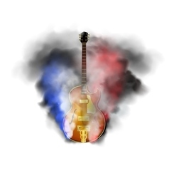 jazz guitar in smoke vector image