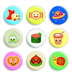 Kawaii badges - set IV vector
