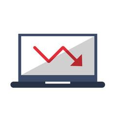 Laptop with decrease statistics arrow symbol vector
