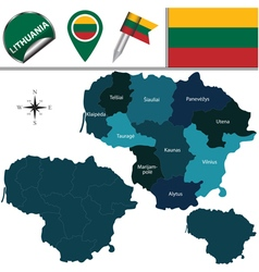 Lithuania map with named divisions vector image