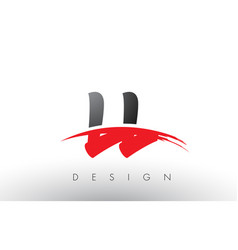Ll l brush logo letters with red and black swoosh vector