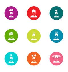 Mindset icons set flat style vector