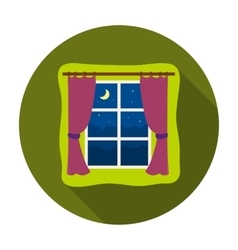 Night out the window icon in flat style isolated vector image