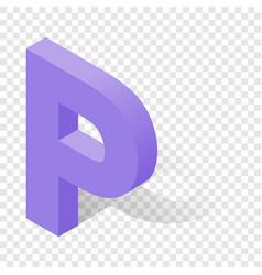 p letter in isometric 3d style with shadow vector image