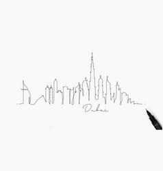 Pen line silhouette dubai vector