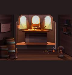 Pirate captain ship cabin wooden room interior vector