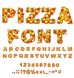 Pizza font Letters dough Food Alphabet Fast food vector image