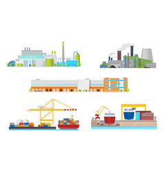 Plant factory warehouse port and shipyard vector