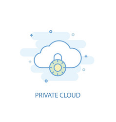 private cloud line concept simple line icon vector image