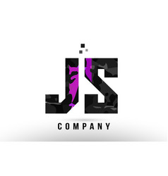 Purple black alphabet letter js j s logo vector