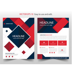 Red black abstract square annual report brochure vector