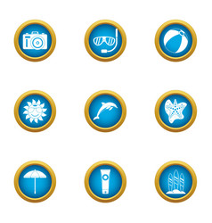 rest with dolphin icons set flat style vector image