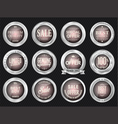 retro vintage sale silver and pink badges and vector image