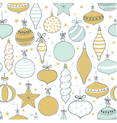 seamless pattern with christmas tree toys vector image
