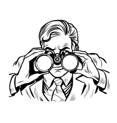 Sentinel watchman with binoculars line art vector image