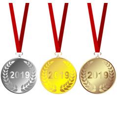Set 2019 medals vector