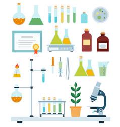 set biology laboratory flat vector image