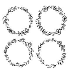 set black hand-drawn wreaths on white vector image