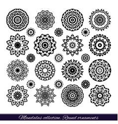 Set of decorative ethnic mandalas outline vector