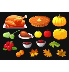 Set of element for Happy Thanksgiving Day on black vector image