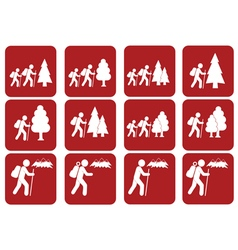 Set of hiking icon isolated sign symbol vector
