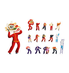 set of male characters traditional chinese vector image