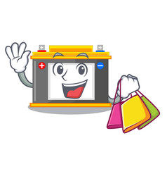 Shopping accomulator the mascot next to table vector