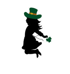 silhouette girl jumps happy saint patricks day vector image