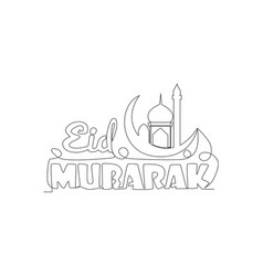 single continuous line drawing happy eid al vector image