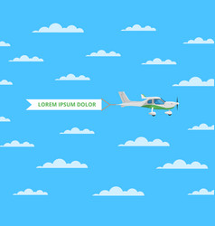 small screw aircraft with banner in sky vector image