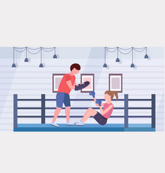 Sportswoman boxer doing boxing exercises with vector