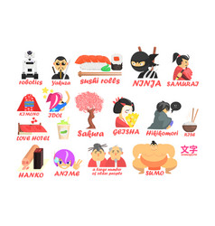Symbols of traditional and modern culture of japan vector