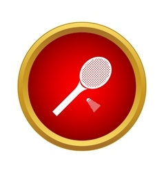 Tennis racket with a tennis ball icon simple style vector image