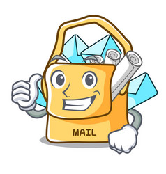 Thumbs up the bag with shape mail cartoon vector