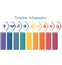 Timeline infographic 9 color arrows vector