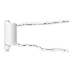 Torn snatched hole in sheet of white paper vector
