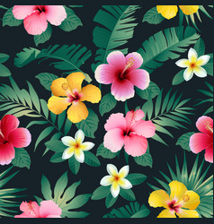 Tropical flowers and leaves on dark background vector