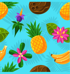 Tropical fruit pattern on a blue background vector