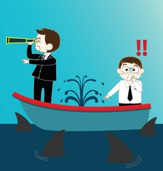 Two businessman on leak sinking boat with sharks vector