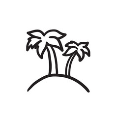 two palm trees on island sketch icon vector image