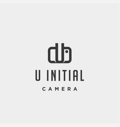 U initial photography logo template design vector