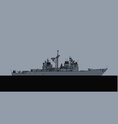 us navy ticonderoga class guided missile cruiser vector image