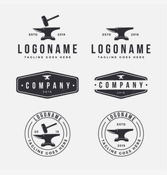 vintage retro emblem logo set anvil blacksmith vector image