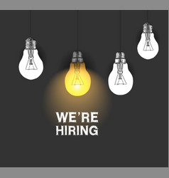 We are hiring design with hanging light bulb vector