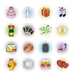 Wedding comics icons set vector