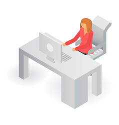 woman at office table icon isometric style vector image
