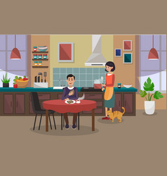 Woman is cooking and the man is having lunch vector