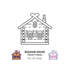 wooden home house of santa claus russian house vector image