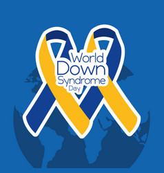 World down syndrome day two ribbons decoration vector