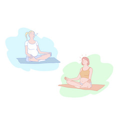 Yoga for pregnant women meditation stress relief vector